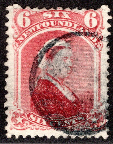 38, NSSC, Newfoundland, 6c dull rose, Queen Victoria, Used, F, postage stamp