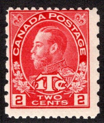 MR5, Scott, War Tax, 2c + 1c carmine, MNHOG, VG/F, Canada BOB Stamp