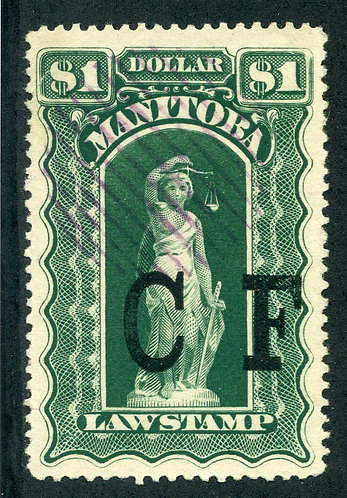 van Dam ML55 - Manitoba Law - $1 Green Used, C F o/p- 1885 Six Scallops
