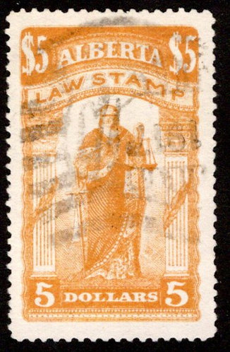 van Dam AL26 - Used, VF - $5 yellow ochre - 1907-1910 - Law Stamp - Justice Stan