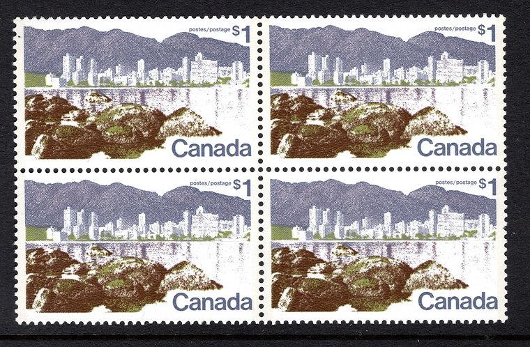 599i, Scott, $1, HB, MNHOG, VF, Block of 4, 1972-1977 Landscape Definitives