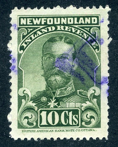 R17, NSSC, p.12 - Used - 1910 George V - 10c green - Inland Revenue - Newfoun