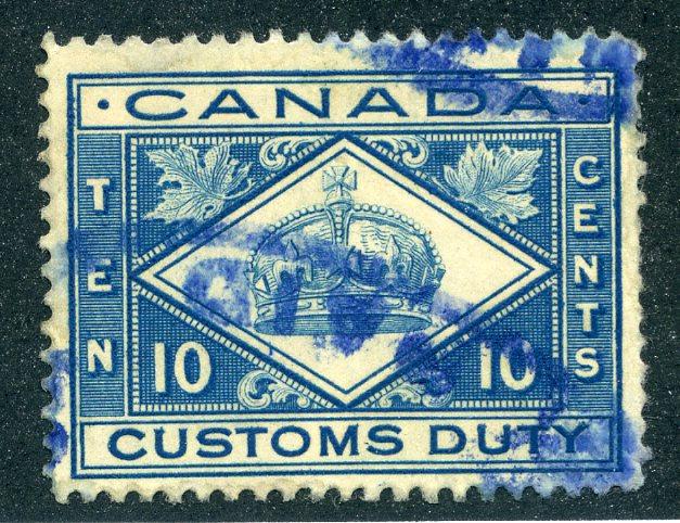 van Dam FCD4- 10c blue- Used - Customs Duty - 1912 Crown