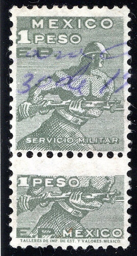 """R 894A, MEXICO, 1957, """"EP"""" Issue, 1P, Dep olive green, with talon,Internal Reve"""
