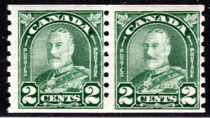 "180 Canada,2c coil pair, KGV ""Arch/Leaf"" Issue, MNHOG, F, Postage Stamp"