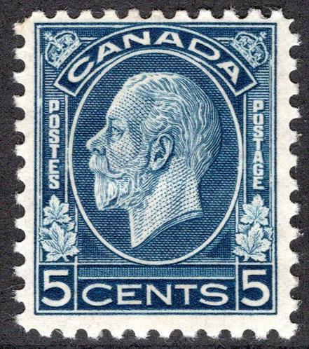 194 Scott, 5c dark blue, MHOG, KGV Medallion Issue, F/VF, Canada Postage Stamp