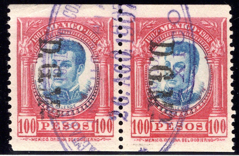 DO 370, Mexico, 1907-1908, 100P, Vert. Pair, (Known Imperforate horiz and vert)