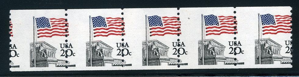 US 1895 MNH strip of 5 misperf - 1981 20c Flag over Supreme Court
