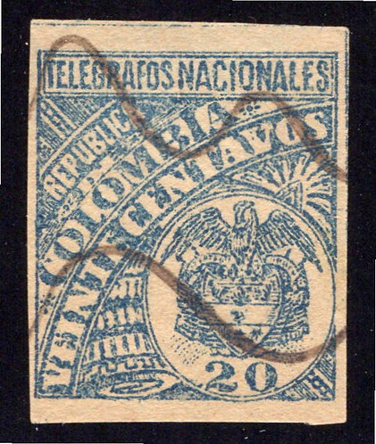 1896, Colombia Telegraph, RH29, CE41, Type 19, 20centavos, used