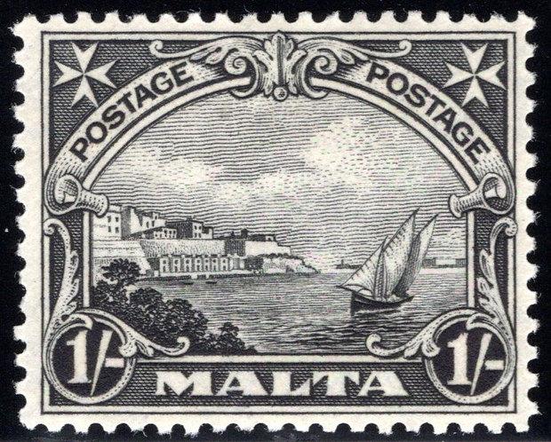 "141 Malta, inscribed ""Postage"", Ship and coast, 1sh, black, MHOG, VF"