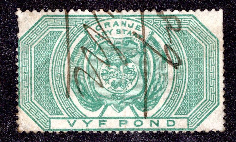 1878/82 Orange Free State £5 GreenFine Used Revenue