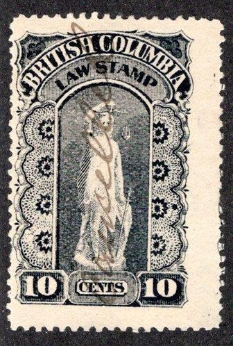 van Dam BCL8 British Columbia Law Stamp - 10c - Second Series 1888-91