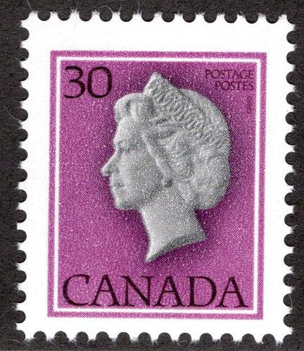 "791T1, 30c QEII, ""untagged, error"", MNHOG, Canada Postage Stamp"