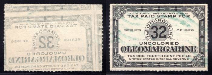 Beautiful OFFSET on 1926 OLEOMARGARINE 32 Tax Paid Stamp at 1/4c per lb. - EFO
