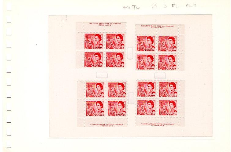 457ivScott, 4c, Centennial Definitive, Matched Plate Blocks, PB3, LF/PVA
