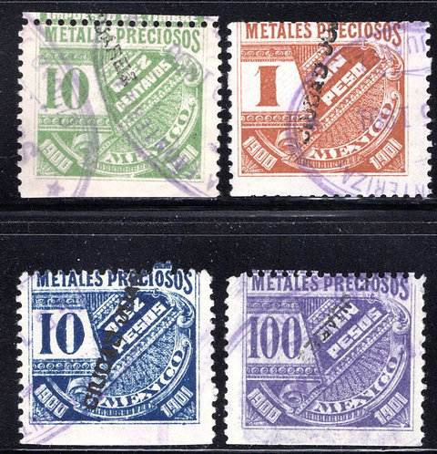 MP 21-MP24, Mexico, 4 stamp set of 10c, 1P, 10P and 100P,1900-1901, Precious
