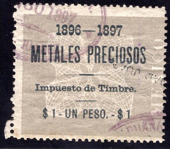 MP 6, Mexico, 1P, 1896-1897, Precious Metals / Metales Preciosos