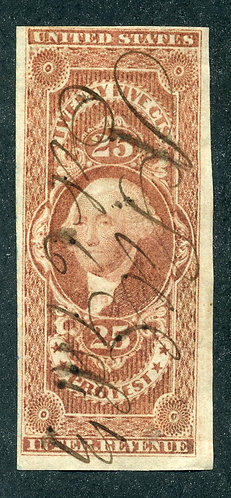 Scott R49a,1862-71 25c Protest, red, F, ms cancel - small slit on back