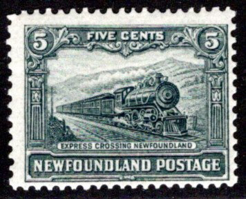 141, NSSC, Newfoundland, 5c, slate green, Express Train, MLHOG, VG, Scott 149