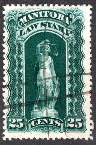 ML111a - Manitoba Law - 25c Blue Green, Used, 1897-1901, Six Scallops