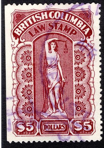 van Dam BCL36, SUPERB, Used,$5,Seventh Series,1905-12, British Columbia Law S