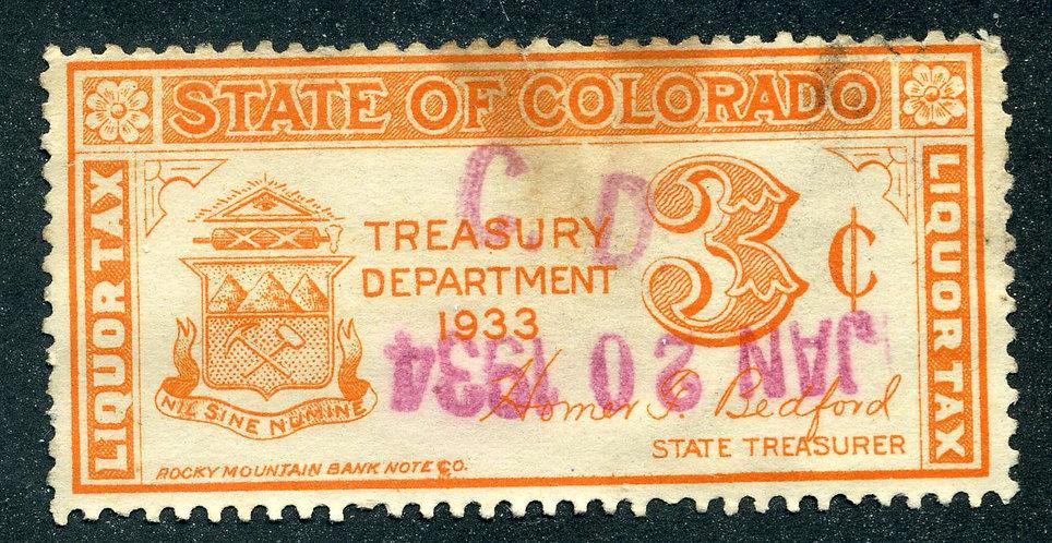 SRS CO WL1- 3c- Colorado- Orange- Used - VF