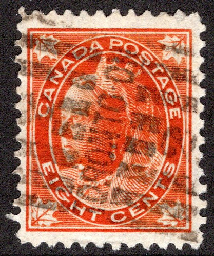 Scott 72, 8c orange, UsedVF/XF, Canada Postage Stamps, Toronto Roller Cancel