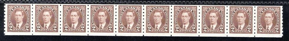 239 Scott, Canada, 2c MNHOG, F, Strip of 10, KGVI Coil Stamps