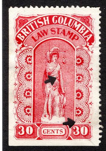 van Dam BCL19 British Columbia Law Stamp - 30c- Fourth Series - 1905-12