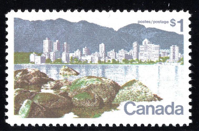 600 Scott - $1, DF, VF, MNHOG, Vancouver Landscape Definitive 1972-77, Canada Po