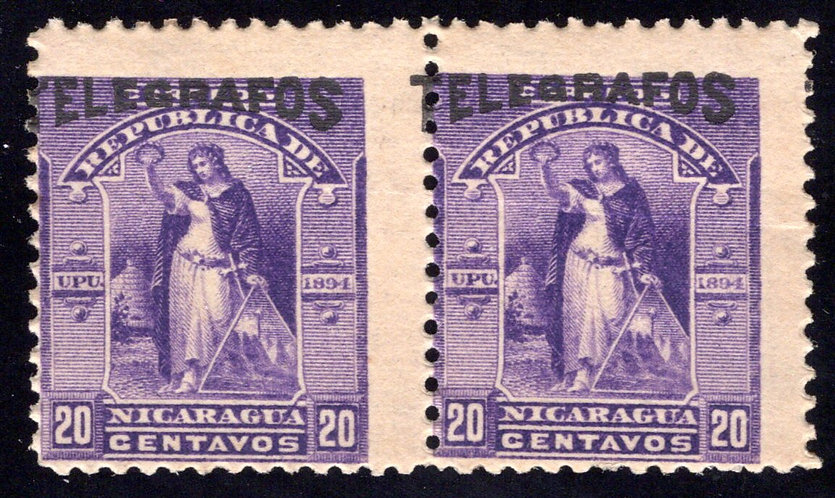 RH#45,H45, Type 12, horiz pair - 12c violet -MNHOG (streaky gum) - Nicaragua