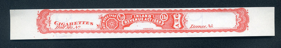 Ryan RC31u - 1881 Cigarette Stamp - Not More Than 1/20th pound