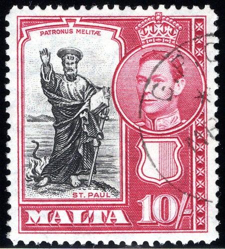 205 Malta, 1938-1943, St. Paul, 10sh dp rose & blk, clear wmk 4, VF