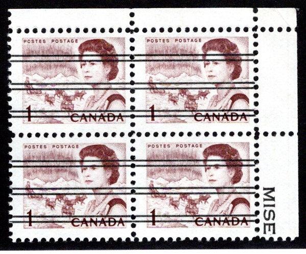 454xxi Scott, 1c brown, UR Block of 4, MNH, F/VF, Centennial Definitives, Canada