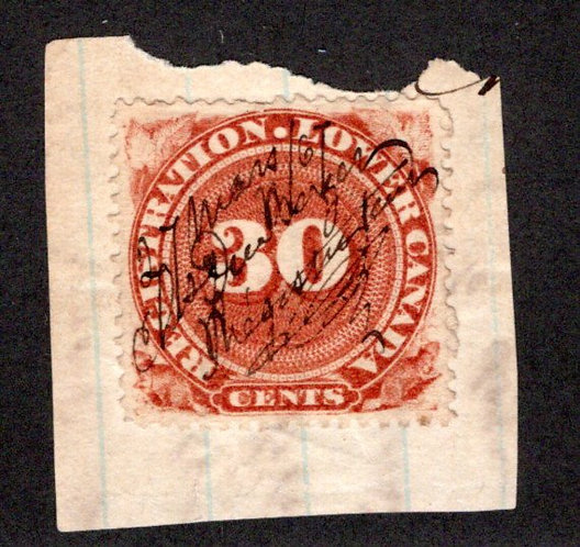 van Dam QR3 - 30c red brown, used on piece,Quebec 1866 Lower Canada