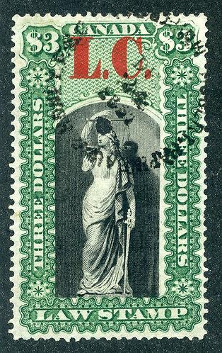 van Dam QL12 - $3 green & black- Used Thin Paper - 1864 Lower Canada - overprin