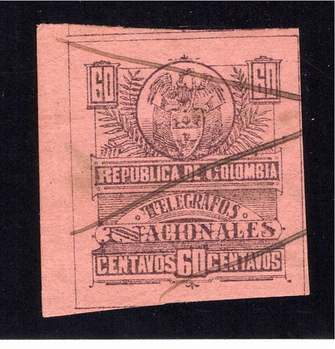 1904, Colombia Telegraph, RH48, CE58, Type 27, 60centavos, used