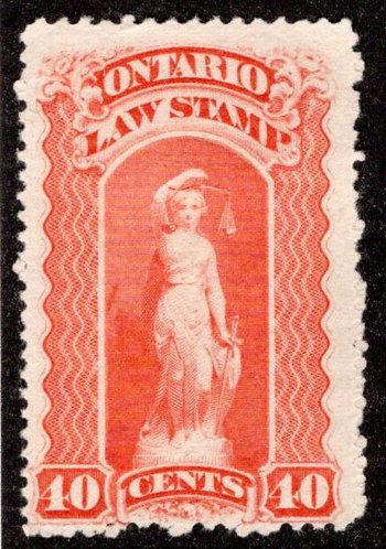 "van Dam OL51, Canada, Ontario, MNG, Law Stamp, 40c, blue ""C"", p.11x12"