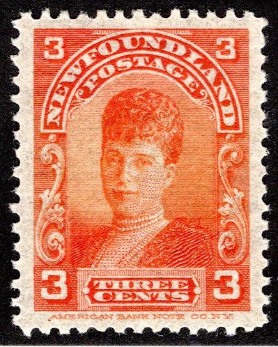 74a, NSSC, Newfoundland, 3¢ Queen Alexandra, orange, MLHOG, F/VF, 19.5 x 25.7