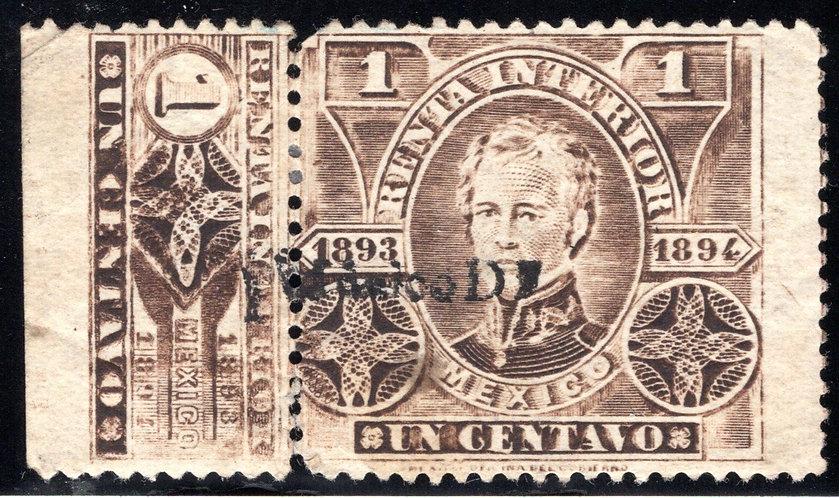 R 105I, Mexico, 1c, 1893-1894, Perf 11 with talon intact, three perfs at bottom
