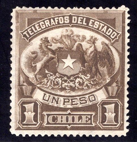 Chile, Telegraph, 1P, 1883, p.12, Type1, H4, used, Telegrafos Del Estado