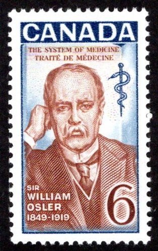495i Scott - 6c, VF, MNHOG, HB, Sir William Osler, Canada Postage Stamp