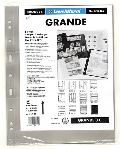 GRANDE 3C sheets - CLEAR - 3 horizontal pockets - Pack of 5 - Lighthouse