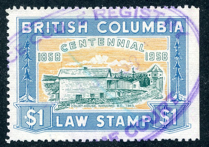 van Dam BCL49 - $1 blue - Used -British Columbia Law Stamp - 1958 Centennial