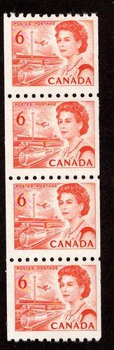 648Ai, Scott, Strip of 4, coil, MNHOG, F/VF, HB, DEX, 1967-73 Centennial Defini