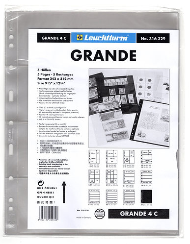 GRANDE 4C sheets - CLEAR - 4 horizontal pockets - Pack of 5 - Lighthouse