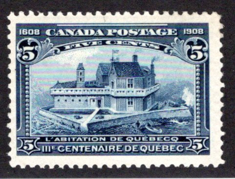 Scott 99, Champlain's Habitation, 5c, 1908, F, MNHOG, Canada