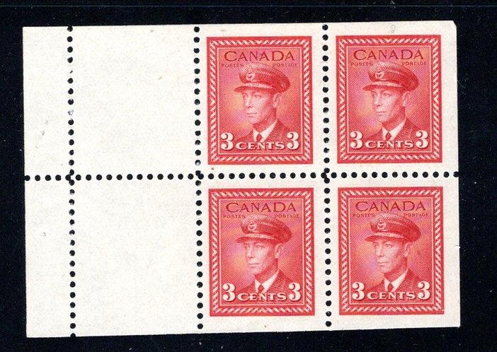 251a, Scott, 3c, VF, MNH, booklet pane of 4x 3c + 2 labels, (Bk 37), Canada