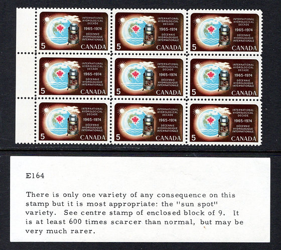 "481ii, Scott, Canada, ""sunspot"" variety in a block of 9, MNH, with Bileski Note"