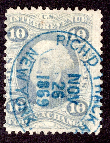 Scott R35c, 10c Foreign Exchange, blue, Blue Oval Handstamp
